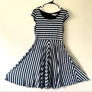 LOFT Blue and Black Cap Sleeve Striped Flare Dress